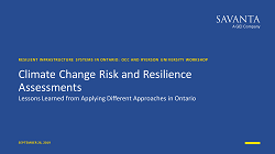 cover page of climate change risk and resilience assessments presentation