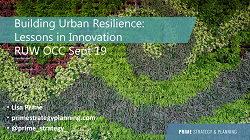cover page of Building Urban Resilience presentation