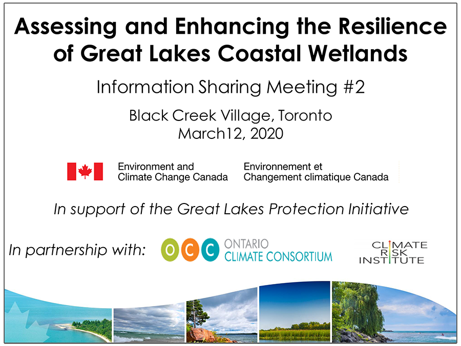 cover page of Assessing and Enhancing Resilience of Great Lakes Coastal Wetlands presentation