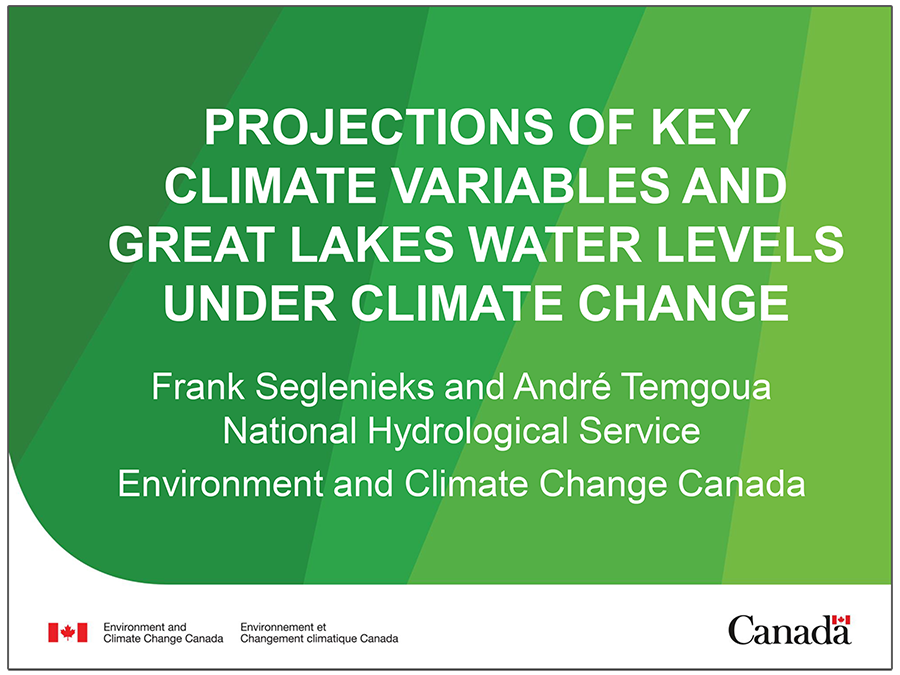 cover page of presentation on Projections of Climate Variables and Great Lakes Water Levels