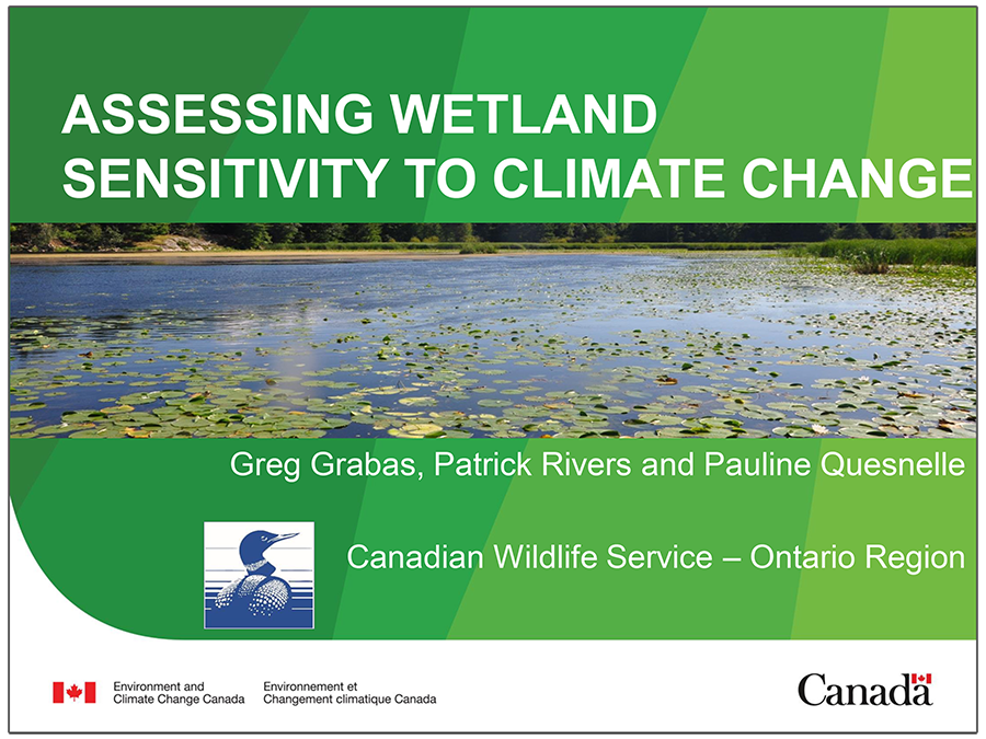 cover page of Assessing Wetland Sensitivity to Climate Change presentation