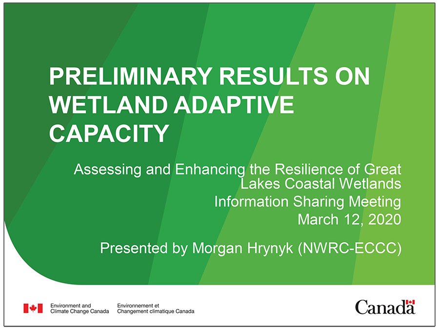 cover page of Wetland Adaptive Capacity presentation